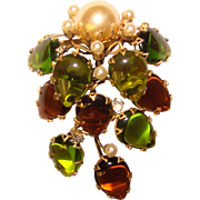 Fabulous SCHREINER Unsigned Green & Topaz Glass Vintage Brooch