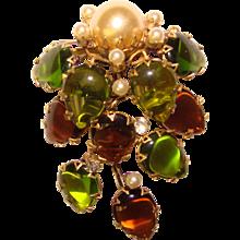 Fabulous SCHREINER Unsigned Green & Topaz Glass Vintage Brooch