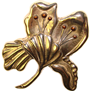 Fabulous MEXICAN STERLING Huge Vintage Lily Flower Brooch