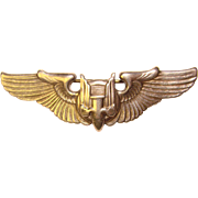 Awesome 1940's BOMBER WINGS Sweetheart Sterling Silver Pin Brooch