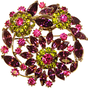 Fabulous Purple Peridot & Fuchsia Pink Large Vintage Rhinestone Brooch