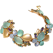 Fabulous FROSTED GLASS Faux Pearl Rhinestone Bracelet