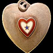 Sterling WWII  Son in Service Enamel Vintage Sweetheart Heart Pendant