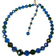 Fabulous PEACOCK Blue Green Aurora Crystal Necklace