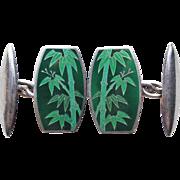 Art Deco Sterling & Enamel Cufflinks - Green Bamboo Asian Oriental Theme