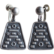 Signed PEDRO CASTILLO Sterling Vintage Dangle Earrings - Taxco Mexican Silver