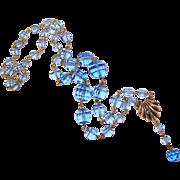 Fabulous ART DECO Czech Blue Glass Necklace