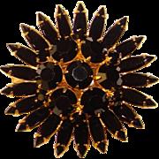 Fabulous BLACK RHINESTONE Navette Vintage Brooch