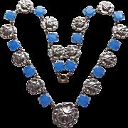 Fabulous Art Deco Blue Glass Rose Link Necklace