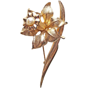 Gorgeous BOUCHER Daffodil Signed Cultured Pearl Vintage Brooch - Jonquille Jonquil