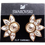"Fabulous SWAROVSKI Signed SAL Crystal Rhinestone Vintage Earrings - Large 1 3/4"" Clips on Card"