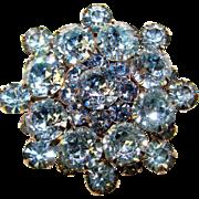 Fabulous BLUE DENTELLE Cut Rhinestones Vintage Brooch