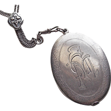 Fabulous Antique 800 Silver Slide Locket 830 Silver Watch Chain Necklace - Engraved Initials AM
