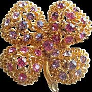 Gorgeous 4 LEAF CLOVER Pink & Lavender Rhinestone Vintage Brooch - Shamrock
