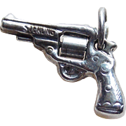 Sterling Pistol Gun Vintage Charm - Mechanical Six Shooter
