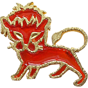 Awesome 1960s LION Faux Stained Glass Vintage Brooch - Great Modernist Design
