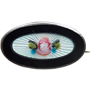 """Tiny Antique to Art Deco Sterling & Enamel Mini Brooch - 5/8"""" For Doll or Lapel"""