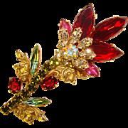 Fabulous RED & GREEN Fancy Flower Vintage Rhinestone Brooch