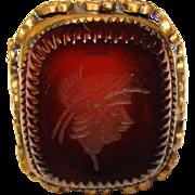 Gorgeous Ornate INTAGLIO Stone Vintage Ring