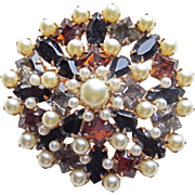 Gorgeous Brown Black Smoke Rhinestone & Faux Pearl Vintage Brooch