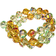 Fabulous Amber Green AURORA CRYSTAL Vintage Estate Wrap Bracelet