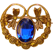 Small Antique Blue Glass Stone Mini Brooch - For Doll or Lapel