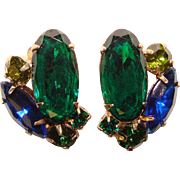 Gorgeous Blue & Green Glass & Rhinestone Vintage Earrings