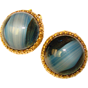Gorgeous BLUE Art Glass Vintage Clip Earrings