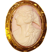 Fabulous Antique Carved Cameo 10K GOLD Setting Brooch