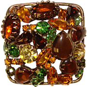 Fabulous FALL COLORS Mixed Rhinestone Brooch