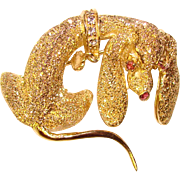 Gorgeous LES BERNARD Sterling Dog Brooch