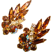 Fabulous D&E JULIANA Vintage Topaz Amber Aurora Clip Earrings