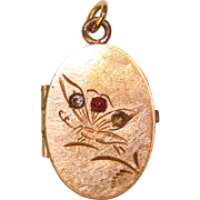 Beautiful Antique Victorian Engraved BUTTERFLY Locket With Stones