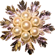 Gorgeous Sterling & Akoya Cultured Pearl Vintage Brooch