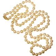 Fabulous OPERA LENGTH Baroque Cultured Pearl 14K Clasp Estate Necklace