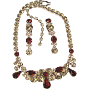 Fabulous EISENBERG Signed Red & Clear Rhinestone Necklace Set