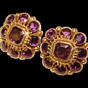 Fabulous SANDOR Signed PURPLE Stones Vintage Clip Earrings