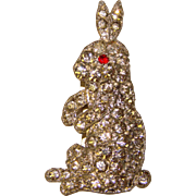 Fabulous ART DECO Rhinestone RABBIT Vintage Dress Clip Brooch