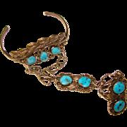 Fabulous STERLING & TURQUOISE Vintage Slave Bracelet