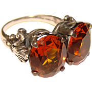 Fabulous CINI Signed Sterling Cognac Colored Stones Vintage Ring