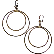 Awesome Large STERLING SILVER Vintage Hoop Earrings