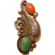 Gorgeous STERLING Turquoise & Coral Stones Vintage Ring