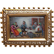 Fabulous Antique Hand Painted Brooch - Detailed Scene of People at the Table