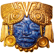 Fabulous Salvador Teran Mexico Aztec Marbel Metal & Ceramic Face Brooch
