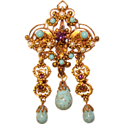 West Germany TURQUOISE Glass Drops Purple Rhinestone Vintage Brooch