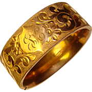 Gorgeous Antique Gold Filled Wide Bangle Bracelet