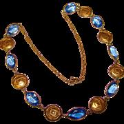 Fabulous ART DECO Blue Glass Stones Necklace