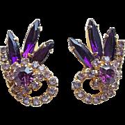 Gorgeous PURPLE & LAVENDER Rhinestone Vintage Earrings