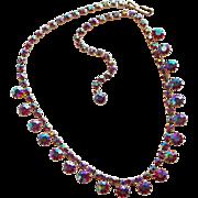 Gorgeous RED AURORA Rhinestone Vintage Necklace