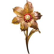 Gorgeous BOUCHER Narcissus Signed Cultured Pearl Red Stones Vintage Brooch